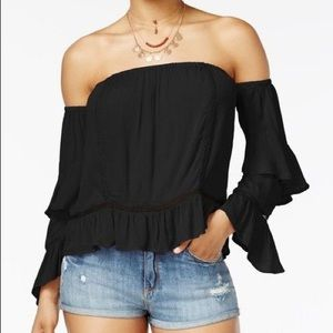 American Rag Crochet Off Shoulder Top In Black